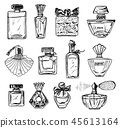 Set of Women's perfume in a bottle. Beautiful fashionable glass accessory. Hand Drawn Sketch 45613164