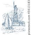 Sailboat in the sea on a background of the Statue of Liberty in New York, summer adventure, active 45613183