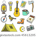Set of cute camping elements. Equipment in forest. Stickers, doodle pins, patches. Campfire Map 45613205