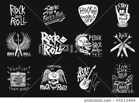 Set of Rock and Roll music symbols with Guitar Wings Skull, Drums Plectrum. labels, logos. Heavy 45613464
