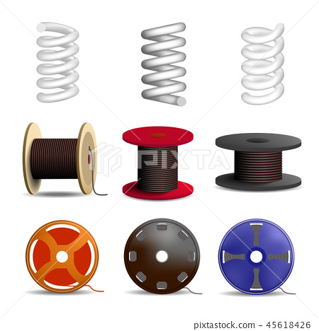 Coil spring icon set, realistic style 45618426