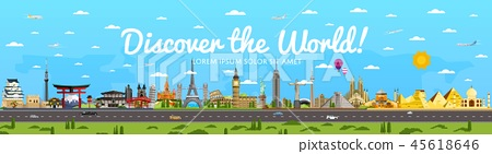 Discover the World poster with famous attractions 45618646
