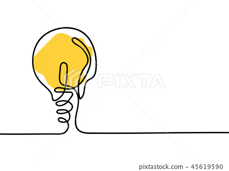 Continuous line drawing. Light bulb of a yellow 45619590
