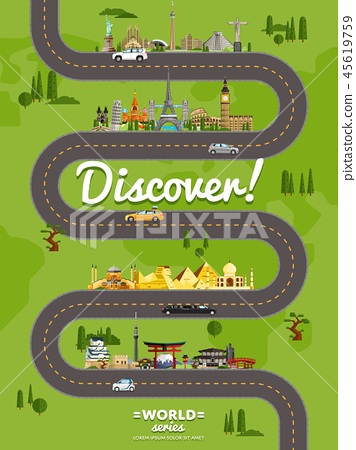 Discover the world poster with famous attractions 45619759