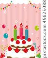 生日卡片例證(桃紅色)/沒有字符 45625088