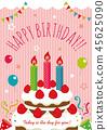 生日卡片插圖(粉紅色) 45625090