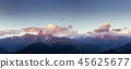 Fantastic snow-capped mountains in the beautiful cumulus clouds 45625677