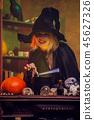 woman sorceress pumpkin 45627326