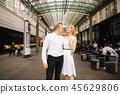 Happy couple walk in the centre of the city. Wiena, Austria 45629806