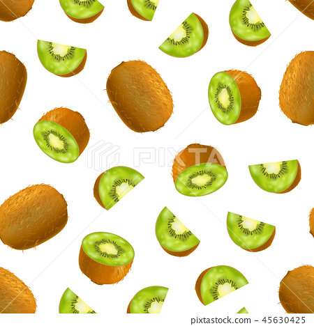 Realistic Detailed 3d Whole Kiwi Seamless Pattern Background. Vector 45630425