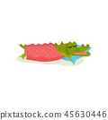 Cute green crocodile sleeping on pillow under warm blanket. Funny humanized animal. Flat vector 45630446