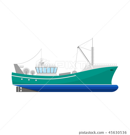 Cartoon Fishing Boat Icon on a White. Vector 45630536