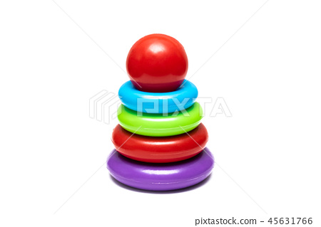 Children's toy pyramid from multi colored circles 45631766