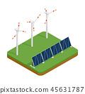Isometric plant solar panels and wind generators. 45631787