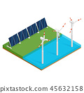 Plant solar panels and offshore wind turbines. 45632158
