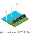 Plant solar panels and offshore wind turbines. 45632159