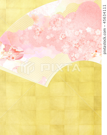 Japanese-Japanese style-Japanese pattern-background-Japanese paper-gold leaf-spring-cherry-pink 45634111