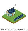 Eco house with wind turbine and solar panel 45634864