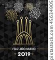 New Year 2019 spain sagrada familia travel gold 45634905