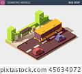 Modern Urban Concept of Public Transport. Vector Isometric Illustration. 45634972