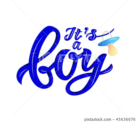 lInscription of phrase Its a boy with nipple soother. Blue color. Volume effect. 45636076