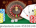 3d rendering of casino roulette stands on a green felt table with cards, dice, chips stacks nearby. 45636146