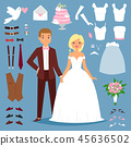 Cartoon wedding bride and groom couple vector illustration of young couple isolated on background 45636502