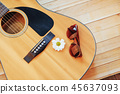 detail of classic guitar with shallow depth of field 45637093