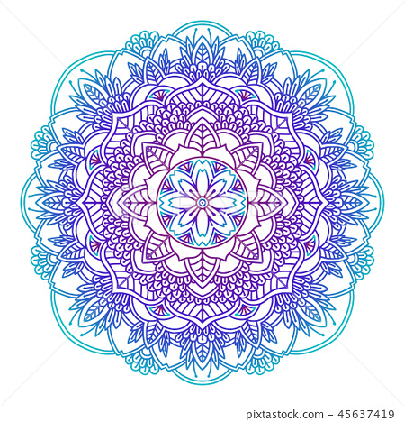 Gradient mandala. Circle ethnic ornament. Hand drawn traditional indian round element. Spiritual 45637419
