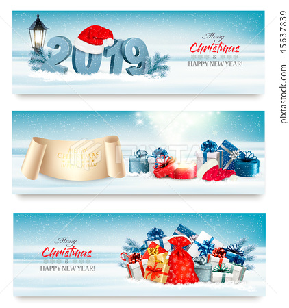 Three Holiday Christmas banners with 2019 45637839