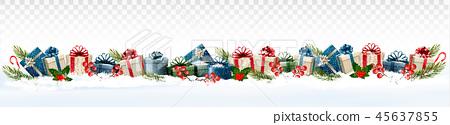 Holiday Christmas panorama with gift boxes 45637855