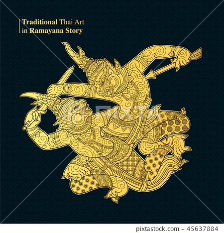 Traditional Thai Art in Ramayana Story 45637884