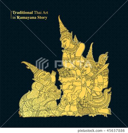 Traditional Thai Art in Ramayana Story 45637886