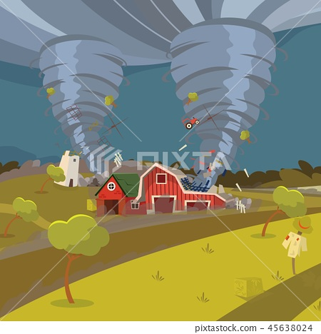 Vector image of a hurricane destroying the village 45638024