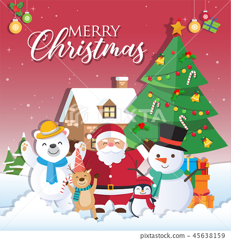 Christmas background with Santa Claus 45638159
