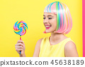 woman, wig, lollipop 45638189
