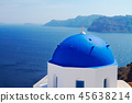 traditional blue dome with sea, Santorini 45638214