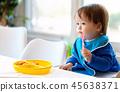 toddler, boy, eating 45638371