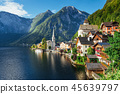 View from height on Hallstatt town between the mountains. Austria 45639797