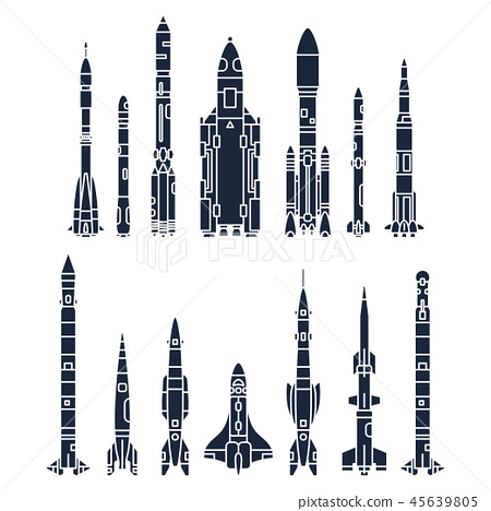 Set monochrome silhouette vector icon elements of aerospace program multistage rocket. Cartoon style 45639805