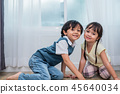 Two Caucasians brother and sister portrait. Children and kids co 45640034