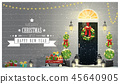 Decorated Christmas front door background 45640905