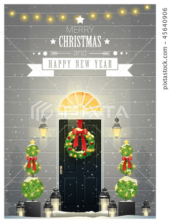 Decorated Christmas front door background 45640906