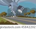 Vector illustration of a destructive hurricane 45642202