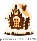 Festive cake in shape of village house decorated in Christmas style isolated on white background 45643799
