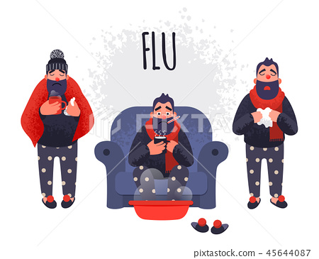 Set of people having cold. Flu sick concept 45644087