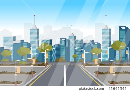 Vector drawing image highway background of city 45645545