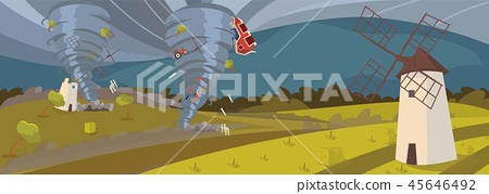 Vector image of a hurricane destroying the village 45646492