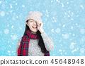 Beautiful happy young woman winter portrait 45648948