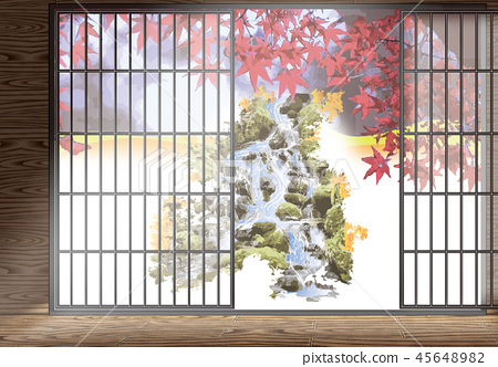 Japanese style house and mountain stream of colored leaves 45648982